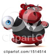 3d Red Business Bull Holding An Eye On A White Background