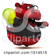 3d Red Business Bull Holding A Light Bulb On A White Background