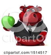 3d Red Business Bull Holding An Apple On A White Background
