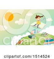 Clipart Of A Girl Sitting On A Book And Flying Over A Globe Royalty Free Vector Illustration by BNP Design Studio