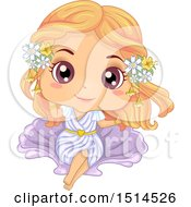 Clipart Of A Girl In An Aphrodite Costume Royalty Free Vector Illustration