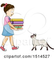 Cat Welcoming A Girl Carrying A Stack Of Books