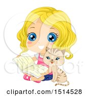 Clipart Of A Cat Sitting With A Girl Reading A Book Royalty Free Vector Illustration