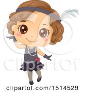 Clipart Of A Girl In A Charleston Dance Costume Royalty Free Vector Illustration