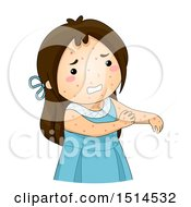 Clipart Of A Girl Sick With Chicken Pox Scratching Her Arm Royalty Free Vector Illustration