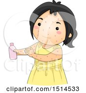 Clipart Of A Girl Sick With Chicken Pox Applying Lotion Royalty Free Vector Illustration by BNP Design Studio