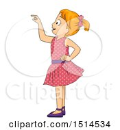 Clipart Of A Girl Picking Something Royalty Free Vector Illustration