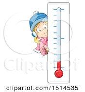Winter Girl Peeking Around A Thermometer