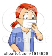 Clipart Of A Sick Coughing Girl Wearing A Mask Royalty Free Vector Illustration by BNP Design Studio
