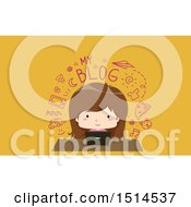 Clipart Of A Girl Writing A Blog On Her Laptop Royalty Free Vector Illustration