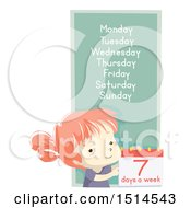 Clipart Of A School Girl With The Seven Days Of The Week Royalty Free Vector Illustration