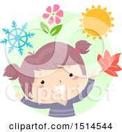 Clipart Of A Girl With Objects Of Each Season Royalty Free Vector Illustration