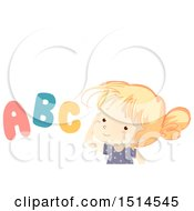Clipart Of A Girl With Abc Letters Royalty Free Vector Illustration