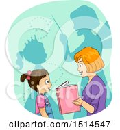 Clipart Of A Mother Reading A Story With Shadows Of A Princess And Fairy Godmother Royalty Free Vector Illustration
