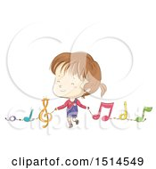 Clipart Of A Sketched Girl Holding Hands With Music Notes Royalty Free Vector Illustration by BNP Design Studio