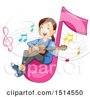 Clipart Of A Girl Playing A Guitar On A Giant Music Note Royalty Free Vector Illustration