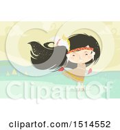 Clipart Of A Happy Native American Girl With Her Hair Blowing In The Wind Royalty Free Vector Illustration
