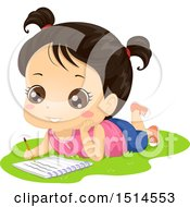Clipart Of A Brunette Girl Laying On Grass And Writing In A Notebook Royalty Free Vector Illustration by BNP Design Studio