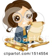 Clipart Of A Brunette Girl Reading An Old Scroll Royalty Free Vector Illustration