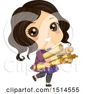 Clipart Of A Girl Carrying Old Scrolls Royalty Free Vector Illustration