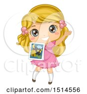 Clipart Of A Blond Girl Holding A Picture And Telling A Story Royalty Free Vector Illustration