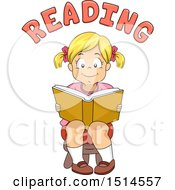 Blond Girl Reading A Book Under Text