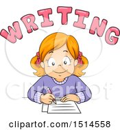 Clipart Of A Red Haired Girl Writing Under Text Royalty Free Vector Illustration by BNP Design Studio