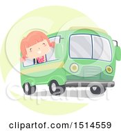 Clipart Of A Girl Sticking Her Head Out Of The Window Of A Bus Royalty Free Vector Illustration