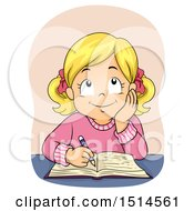 Clipart Of A Blond Girl Writing In A Book Royalty Free Vector Illustration by BNP Design Studio