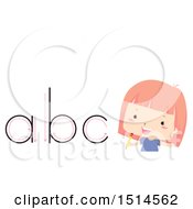 Clipart Of A Girl By Alphabet Letters Traced With A Pencil Royalty Free Vector Illustration by BNP Design Studio