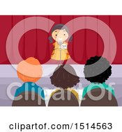 Clipart Of A Girl Auditioning On Stage In Front Of Judges Royalty Free Vector Illustration by BNP Design Studio
