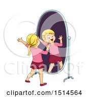 Clipart Of A Blond Girl Singing In Front Of A Mirror Royalty Free Vector Illustration