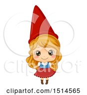 Clipart Of A Girl In A Garden Gnome Costume Royalty Free Vector Illustration