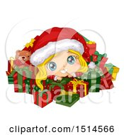 Clipart Of A Blond Christmas Girl In A Santa Suit Surrounded By Presents Royalty Free Vector Illustration by BNP Design Studio