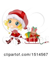 Clipart Of A Blond Christmas Girl In A Santa Suit Pulling A Sleigh Of Presents Royalty Free Vector Illustration