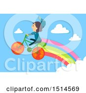 Boy Riding And Flying On A Vegetable Bike With A Rainbow Trail