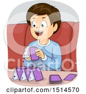 Clipart Of A Happy Brunette Boy Building A Tower With Playing Cards Royalty Free Vector Illustration by BNP Design Studio