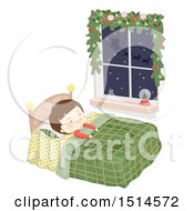 Clipart Of A Boy Sleeping In Bed With Santas Sleigh Flying Outside His Window Royalty Free Vector Illustration by BNP Design Studio