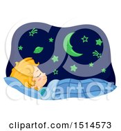 Clipart Of A Boy Sleeping With Glow In The Dark Astronomy Wall Decorations Royalty Free Vector Illustration
