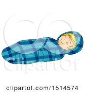 Clipart Of A Boy Sleeping In A Mummy Bag Royalty Free Vector Illustration