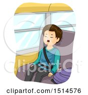 Clipart Of A Boy Sleeping With His Mouth Open On A School Bus Royalty Free Vector Illustration by BNP Design Studio