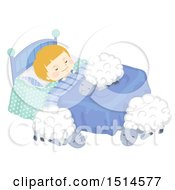 Clipart Of A Boy Sleeping With Sheep On And Around His Bed Royalty Free Vector Illustration