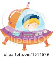Clipart Of A Boy Flying A Ufo Royalty Free Vector Illustration by BNP Design Studio