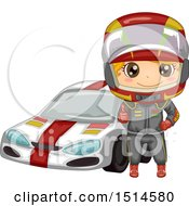 Clipart Of A Boy Racer Giving A Thumb Up By A Car Royalty Free Vector Illustration