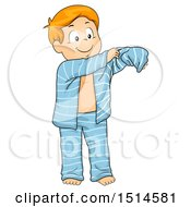 Clipart Of A Boy Putting On His Pajamas Royalty Free Vector Illustration by BNP Design Studio