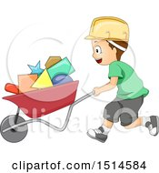 Clipart Of A Boy Pushing Shapes In A Wheelbarrow Royalty Free Vector Illustration by BNP Design Studio