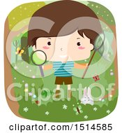 Clipart Of A Happy Boy Holding A Magnifying Glass And Bug Net In The Woods Royalty Free Vector Illustration
