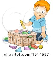 Clipart Of A Boy Putting Shapes In A Basket Royalty Free Vector Illustration by BNP Design Studio
