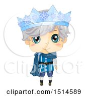 Clipart Of A Winter Prince Wearing An Ice Crown Royalty Free Vector Illustration by BNP Design Studio