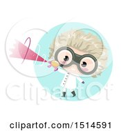Clipart Of A Mad Scientist Boy Holding A Ray Gun Royalty Free Vector Illustration by BNP Design Studio